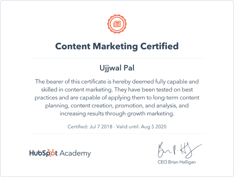 content marketing certificate - Ujjwal Pal